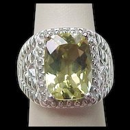 Vintage Sterling Silver Big Citrine Ring