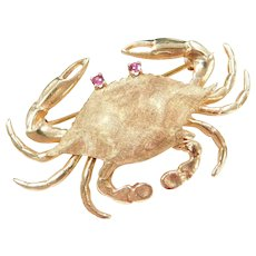14k Gold Big Crab Pin / Brooch with Ruby Eyes