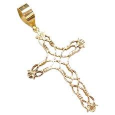 14k Gold Diamond Cut Big Open Design Cross Pendant