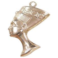 Vintage 10k Gold Egyptian Queen Nefertiti Pendant / Charm