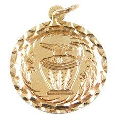 Big 14k Gold Pitcher Disk Charm with Diamond Cut Design and Mandala Burst