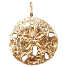 14k Gold Big Nautical Sand Dollar Charm / Pendant