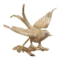 Vintage 14k Gold Bird Brooch / Pin with Spinel Circa 1930's