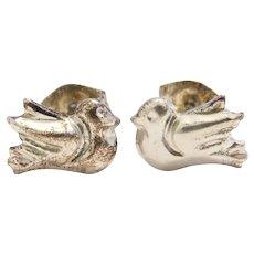 Sterling Silver Bird / Dove Stud Earrings