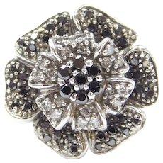 .70 ctw Black and White Diamond Flower Ring 14k White Gold