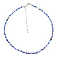 """15"""" - 18 1/4"""" Blue Cats Eye Bead Necklace Sterling Silver"""
