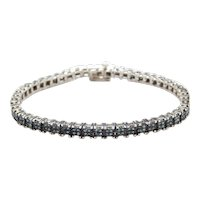 "6 5/8"" Blue Diamond Sterling Silver Tennis Bracelet"