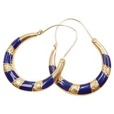 14k Gold Ornate Blue Enamel Hoop Earrings