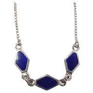 """Vintage Sterling Silver Blue Enamel Necklace ~ 15 1/2"""""""