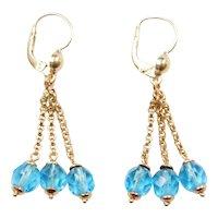 Vintage 18k Gold Blue Glass Dangle Earrings
