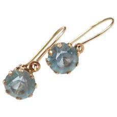 Edwardian 14k Gold Blue Paste Earrings