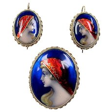 Victorian Revival 14k Gold Limoges Female Painted Portrait with Red Foil Headscarf Pin and Earrings Set ~ Made in France