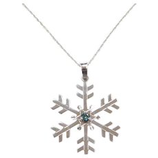 .10 Carat Blue Diamond Snowflake Necklace 14k White Gold
