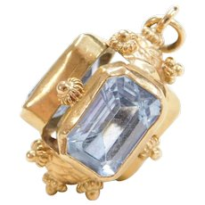 Vintage 18k Gold Natural Blue Spinel Charm