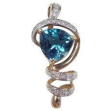 Vintage 14k Gold Two-Tone 6.56 ctw Blue Topaz and Diamond Pendant
