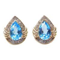 Vintage 14k Gold 4.21 ctw Blue Topaz and Diamond Stud Earrings