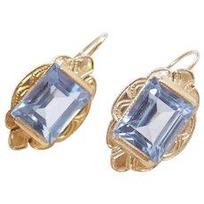 Edwardian 14k Gold 6.80 ctw Blue Topaz Etched Earrings