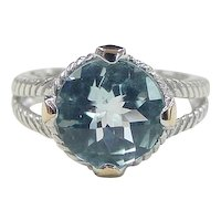 Vintage 14k Gold and Sterling Silver Blue Topaz Ring ~ 5.75 Carat