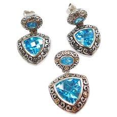 Sterling Silver Blue Topaz Pendant and Earrings Set