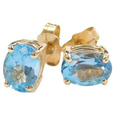 Vintage 14k Gold 2.20 ctw Blue Topaz Stud Earrings