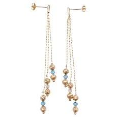 Vintage 14k Gold LONG Diamond Cut Bead, Blue and Clear Ice Triple Strand Dangle Earrings