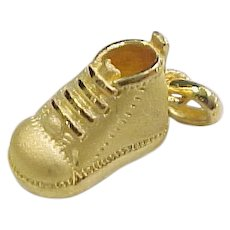 Vintage 24k Pure Gold Baby Bootie / Shoe / Boot Charm