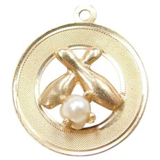 14k Gold Cultured Pearl Bowling Pins Charm