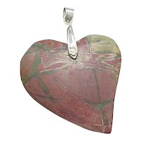 Vintage 18k White Gold Plated Brecciated Jasper Heart Pendant