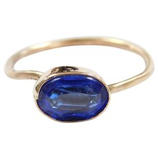 Victorian 10k Gold Bright Blue Glass Ring ~ Converted Stick Pin