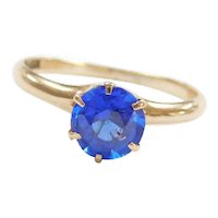 10k Gold .75 Carat Bright Royal Blue Quartz Solitaire Ring