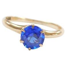 10k Gold .75 Carat Bright Royal Blue Quartz Solitaire Ring