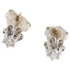 Vintage 14k White Gold .12 ctw Diamond Stud Earrings Buttercup Setting
