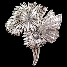 Vintage Sterling Silver Detailed Butterfly and Flower Pin / Brooch
