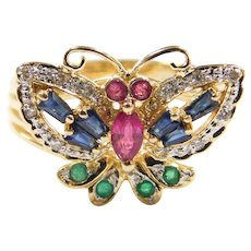 Vintage 14k Gold .68 ctw Colorful Gemstone Butterfly Ring ~ Sapphire, Emeralds, Rubies and Diamonds ~ Two-Tone