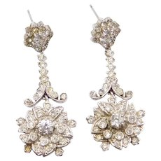 Vintage Sterling Silver Faux Diamond Floral Long Dangle Earrings