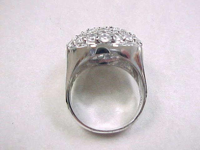 Vintage Sterling Silver Faux Diamond Dome Ring Arnold