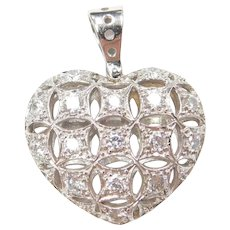 14k White Gold .64 ctw Faux Diamond Heart Pendant