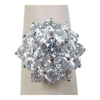 Vintage Sterling Silver Faux Diamond Cluster Ring