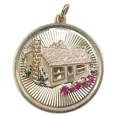 Vintage 14k Gold Cabin Charm with Ruby