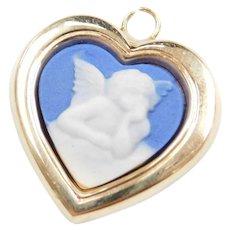 14k Gold Cameo Angel Heart Charm / Pendant ~ More Precious Than Gold