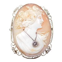 Art Nouveau 14k White Gold Cameo Pendant / Brooch ~ Diamond Accent
