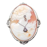 Art Nouveau 14k White Gold Cameo Pendant / Brooch ~ Diamond Accents