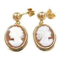 14k Gold Cameo Drop Earrings