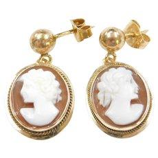 14k Gold Cameo Drop Earrings