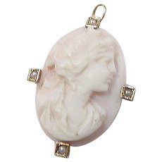 Victorian Cameo and Seed Pearl Pendant 10k Gold