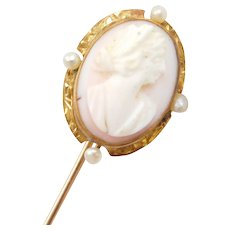 Edwardian 10k Gold Carved Shell Cameo and Seed Pearl Stick Pin