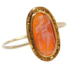 Edwardian 10k Gold Cameo Ring ~ Converted Stick Pin