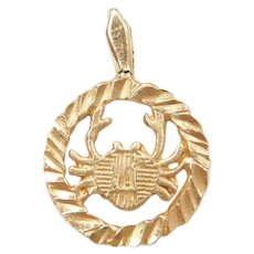 14k Gold Small Cancer Zodiac Crab Charm June 21st - July 22nd
