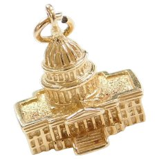 14k Gold United States Capitol Building DC Charm Three Dimensional