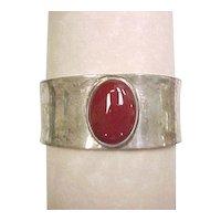 Vintage Sterling Silver Carnelian Cuff Bracelet